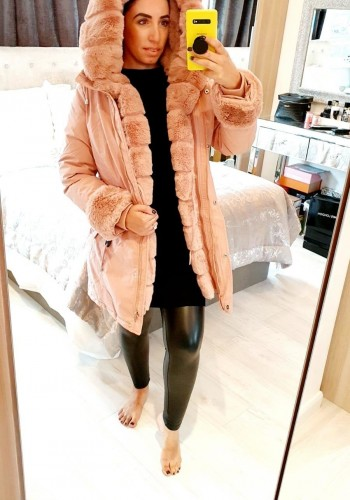 Jaya Baby Pink Faux Fur Hooded Toggle Coat