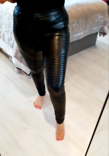 Hanna Black Faux Leather Biker Leggings
