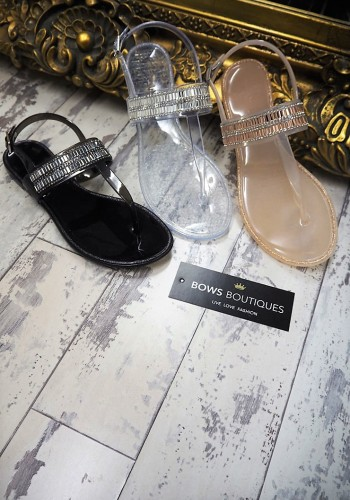 Milina T-Bar baguette and crystal jelly sandals