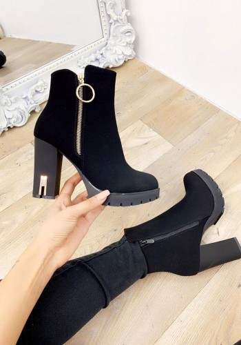Bliss Black Faux Suede Block Heel Boots