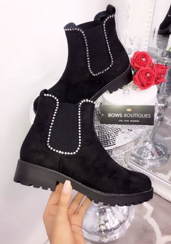 Bliss Faux Suede Chelsea Ankle Boots