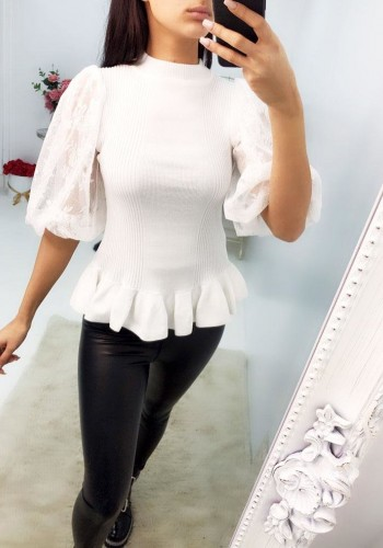 Bloom Peplum Lace Puff Sleeve Knitted Jumper