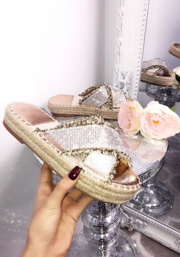 Blossom Diamante Cross Strap Espadrille Sliders