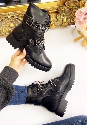 Bonnel Black Faux Leather Diamante Buckle Biker Boots