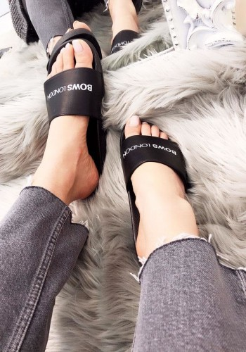 Bows London Black Sliders