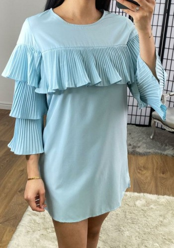 Bretta ruffle pleated shift dress