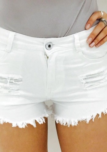 Brianna frayed denim shorts