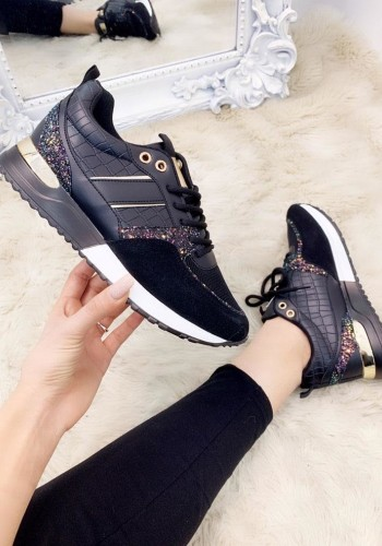 Bridy Black Faux Leather Croc Print Glitter Trainers