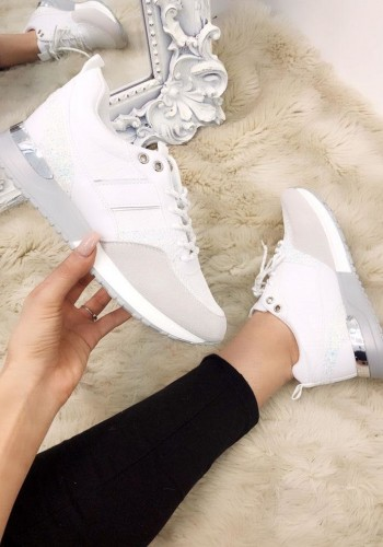 Bridy White Faux Leather Croc Print Glitter Trainers