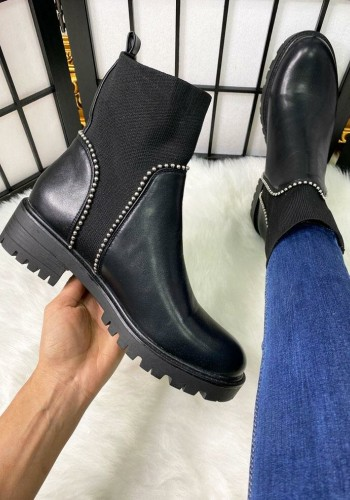 Brooklyn Black Faux Leather Studded Sock Boots