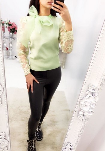 Burton Lace Arm Tie Neck Knitted Jumper