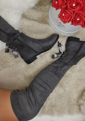 Mystique Suedette Heel Bow Knee High Boots