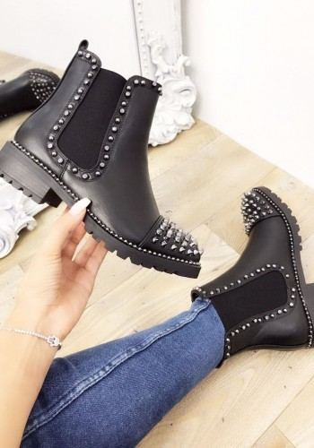 Carolina Black Studded Faux Leather Biker Boots