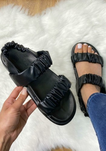 Cason Black Rouched Elasticated Faux Leather Sandals