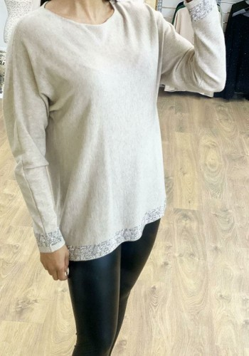 Cassandra Diamante Detailed Knitted Jumper