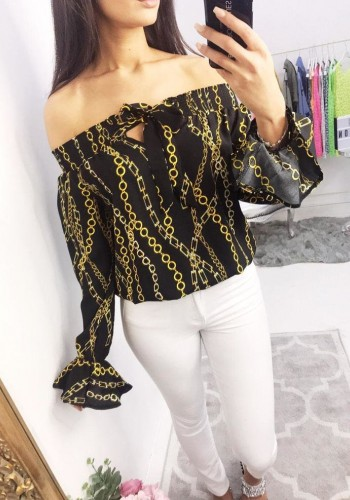 Celestina Bardot Gold Chain Print Top