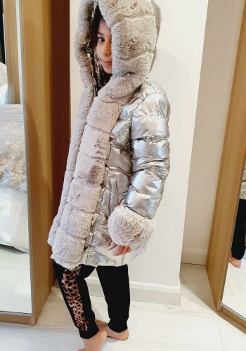 Primrose Kids Faux Fur Silver Metallic Padded Coat