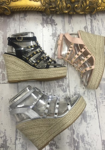 Chann studded espadrille strappy wedge