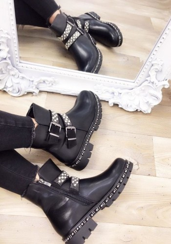 Charli Black Faux Leather Studded Biker Boots