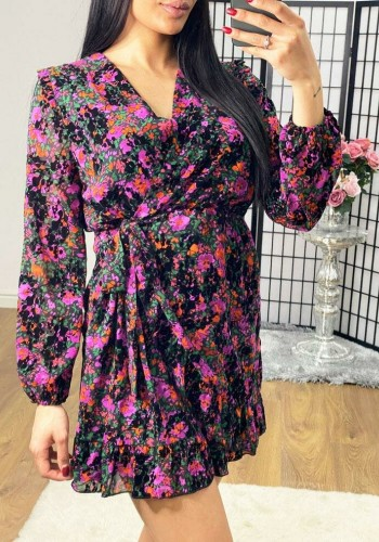 Charlton Floral Tie Waist Wrap Dress