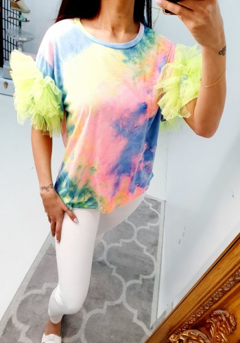 Chelly Pink Mesh Puff Sleeve Tie Dye T-shirt