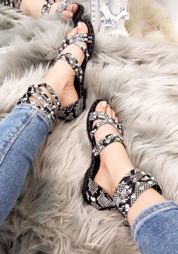 Chelsea Snake Print Diamante Studded Strappy Sandals