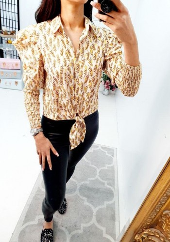 Cheza Puff Sleeve Leaf Printed Tie Front Blouse