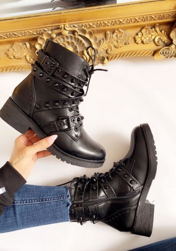 Chicago Black Faux Leather Studded Biker Boots