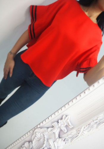 Darcie Striped Batwing Blouse