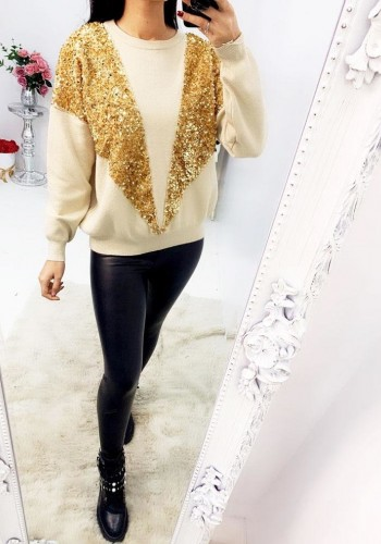Darcy Sequin V Panel  Knitted Jumper