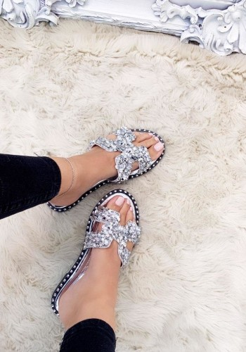 Darlina Jewel Cut Out Slip On Sandals
