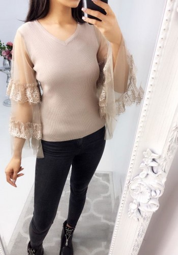 Dayley Lace Mesh Bell Sleeve Knitted Ribbed Jumper