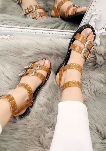 Dayna Studded Buckle Strappy Sandals
