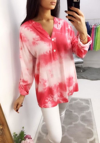 Delicia Tie Dye Dipped Hem Shirt