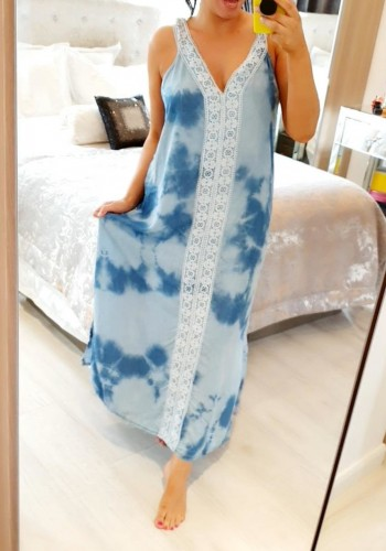 Riri Marble Denim Crochet Maxi Dress