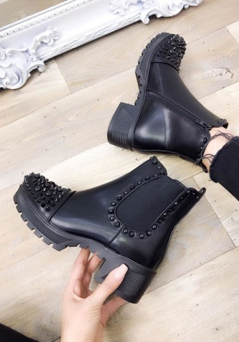 Dione Black Faux Leather Studded Biker Boots