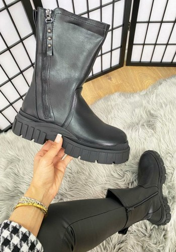 Dorsi Black Faux Leather Zip Detailed Chunky Sole Biker Boots
