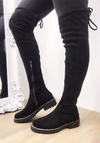 Drew Black Faux Suede Diamante Over Knee Boots