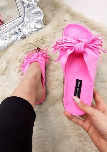 Ebony Tassel Faux Suede Knotted Sliders