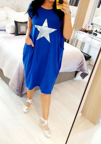 Elizabeth Silver Foil Star Loose Fit Pocket Dress