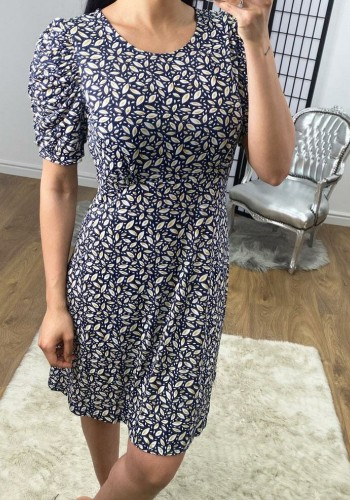 Ellia Navy Leaf Print Puff Sleeve Swing Dress