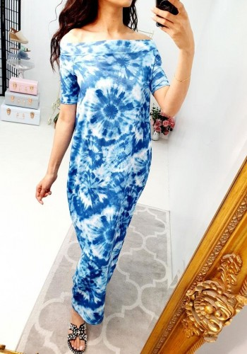 Elodine Blue Tie Dye Bardot Jersey Maxi Dress
