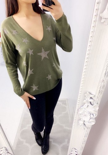 Elouise Star Studded V-neck Thin Knit Jumper