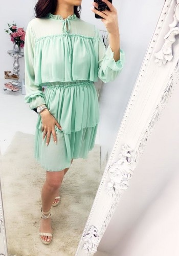 Emona Tie Neck Ruffle Trim Layered Smock Dress