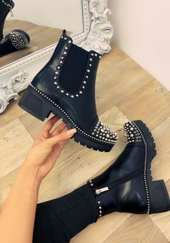 Esmena Black Faux Leather Studded Biker Boots