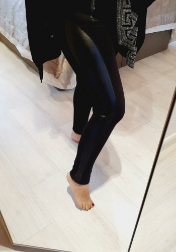 Everly Black Scuba Faux Leather Stripe Detail Leggings