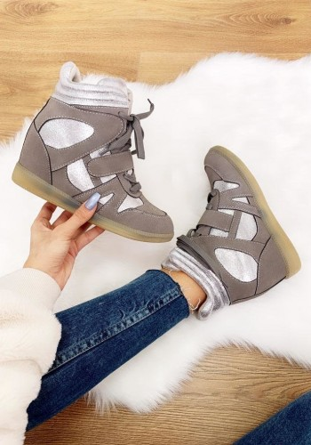 Ezora Faux Suede Glitter Wedge Trainers
