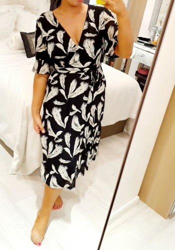 Navella Frill Sleeve Leaf Print Wrap Dress