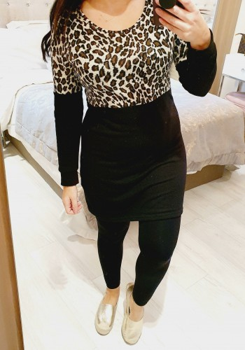 Geo Leopard Print Super Soft Knitted Jumper Dress
