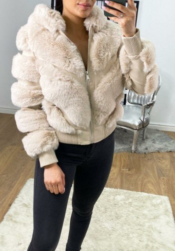 Farin Cream Faux Fur Panelled Hooded Jacket
